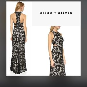 Alice and Olivia adel side cut out maxi dress sz 8
